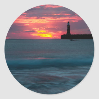 Sunset at Roker Classic Round Sticker