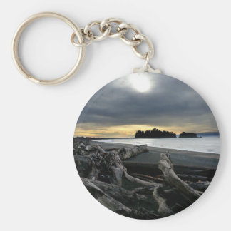 Sunset at Ruby Beach Olympic National Park Keychain