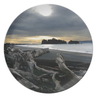Sunset at Ruby Beach Olympic National Park Melamine Plate