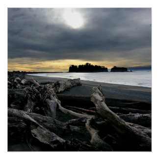 Sunset at Ruby Beach Olympic National Park Poster