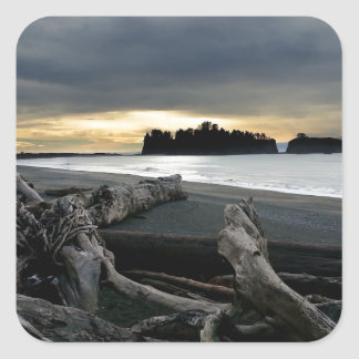 Sunset at Ruby Beach Olympic National Park Square Sticker
