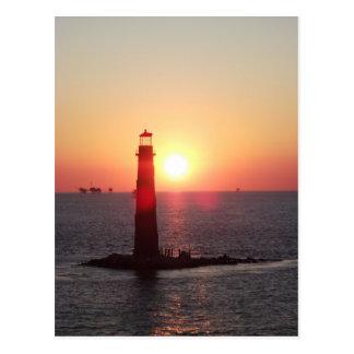 Sunset at Sand Island Lighthouse Postcard