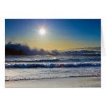 Sunset at Santa Monica beach, huge waves Card