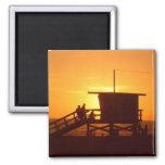 Sunset at Santa Monica State Beach Magnet Magnets