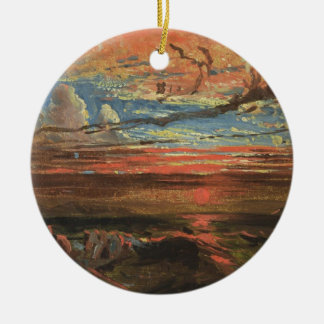 Sunset at Sea after a Storm (oil on pressed cardbo Ornament