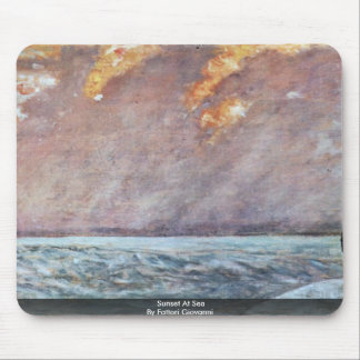 Sunset At Sea By Fattori Giovanni Mousepads