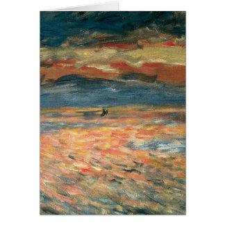 Sunset at Sea by Pierre Renoir, Vintage Fine Art Card