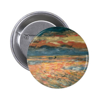 Sunset at Sea by Pierre Renoir, Vintage Fine Art Pinback Button