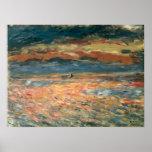 Sunset at Sea by Pierre Renoir, Vintage Fine Art Poster
