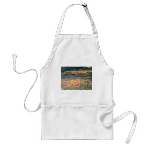 Sunset at Sea by Renoir, Vintage Impressionism Art Adult Apron