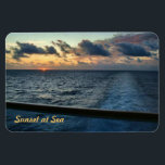 "Sunset at Sea Custom Premium Magnet<br><div class=""desc"">Sunet as seen from an aft balcony of a cruise ship.  One of the beauties of cruising - witnessing sunrises and sunsets at sea.</div>"