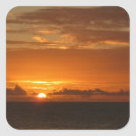 Sunset at Sea I Tropical Orange Seascape Square Sticker