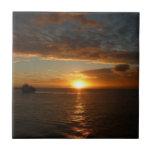 Sunset at Sea II Tropical Seascape Ceramic Tile