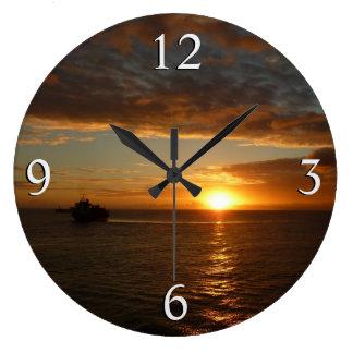 Sunset at Sea II Tropical Seascape Large Clock