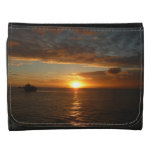 Sunset at Sea II Tropical Seascape Leather Trifold Wallets