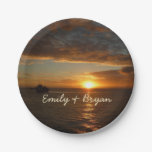 Sunset at Sea II Tropical Seascape Paper Plate
