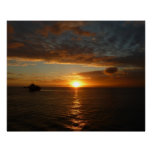 Sunset at Sea II Tropical Seascape Poster