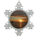 Sunset at Sea II Tropical Seascape Snowflake Pewter Christmas Ornament