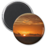 Sunset at Sea III Tropical Orange Seascape 2 Inch Round Magnet