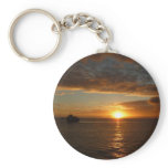 Sunset at Sea IV Tropical Seascape Basic Round Button Keychain