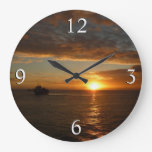 Sunset at Sea IV Tropical Seascape Wall Clocks