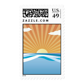 Sunset at Sea Postage Stamps