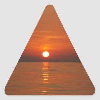 Sunset At Sea Triangle Sticker