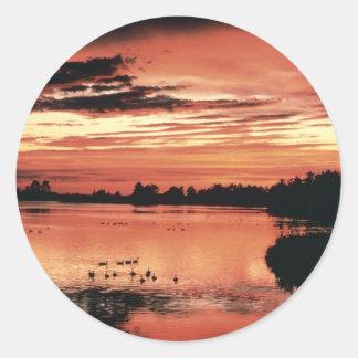 Sunset at Seney National Wildlife Refuge Round Sticker