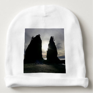 Sunset at Split rock Olympic National Park Baby Beanie