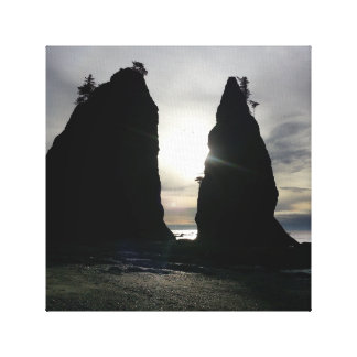 Sunset at Split rock Olympic National Park Canvas Print
