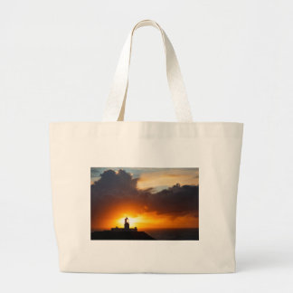 Sunset at Strumble Head Lighthouse Large Tote Bag