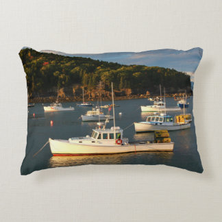 Sunset at the Bar Harbor Waterfront Accent Pillow