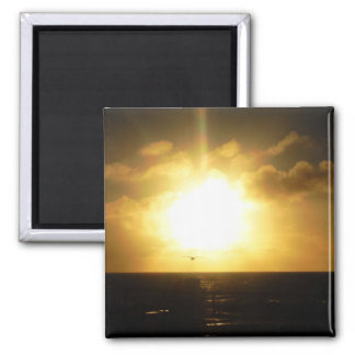 Sunset At The Beach 2 Inch Square Magnet
