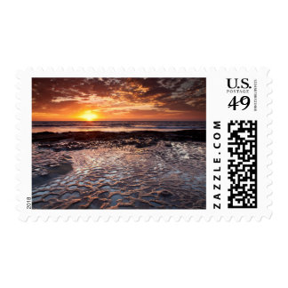 Sunset at the beach, California Postage