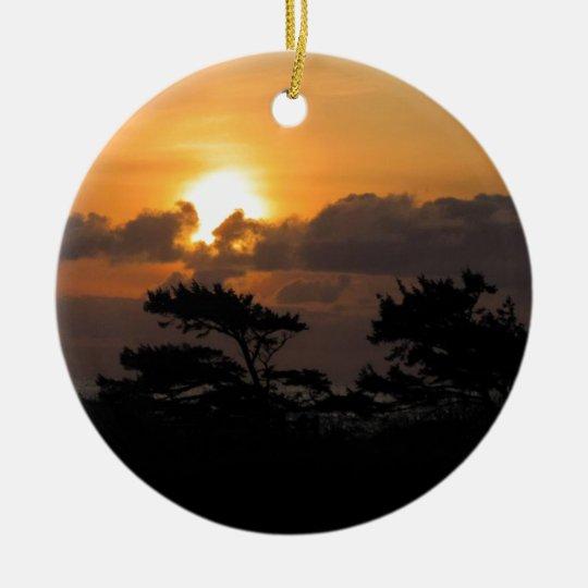 Sunset at the Beach Ceramic Ornament