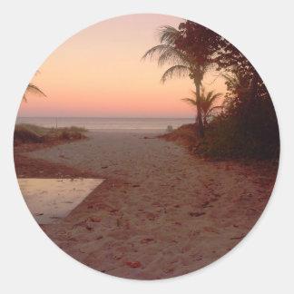 Sunset at the beach classic round sticker