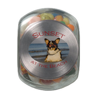 Sunset at the Beach Glass Jars