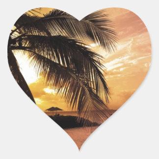 Sunset at the Beach Heart Sticker