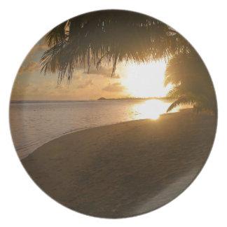 Sunset at the beach melamine plate