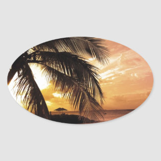 Sunset at the Beach Oval Sticker