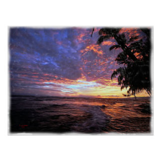 Sunset at the Beach...Poster and Print.