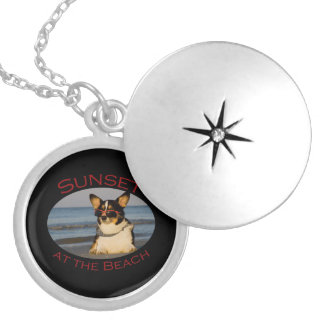 Sunset at the Beach Round Locket Necklace