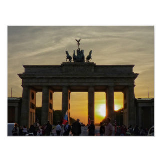 Sunset at the Brandenburg gate, Berlin Poster