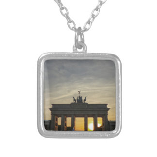 Sunset at the Brandenburg Gate, Berlin Silver Plated Necklace