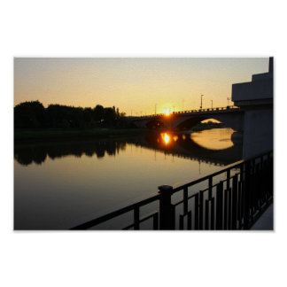 Sunset at the Broad Street Bridge in Columbus, OH Poster