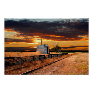 Sunset at the Coonawarra Rail Station Poster