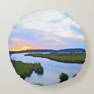 Sunset at the Delaware Shore Round Pillow