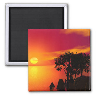 Sunset At The Lake 2 Inch Square Magnet