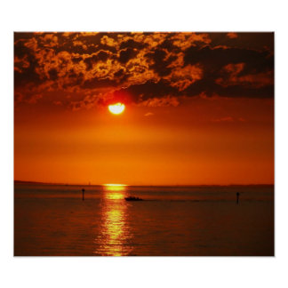 Sunset at the Lake Constance Poster