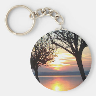 Sunset at the lake keychain